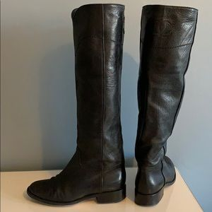 CHANEL black soft leather CC boots